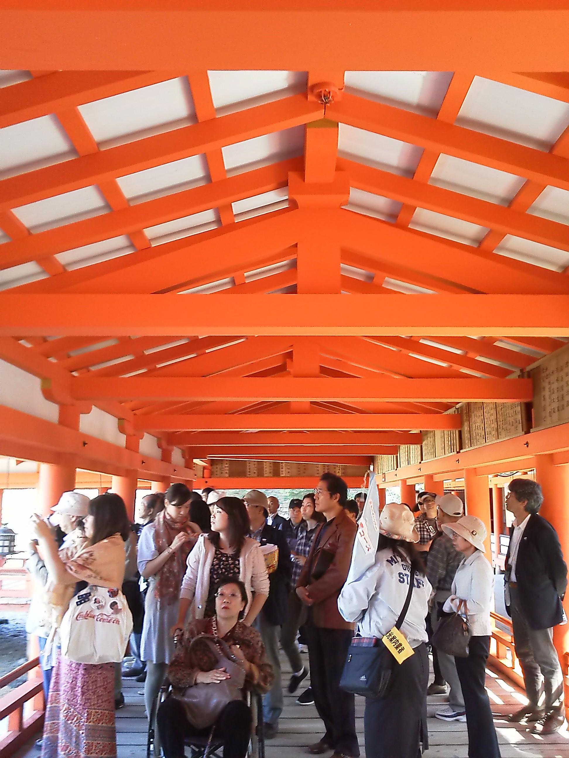 厳島神社の社殿の天井